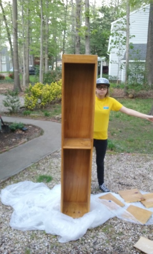 Before picture of my bookshelf